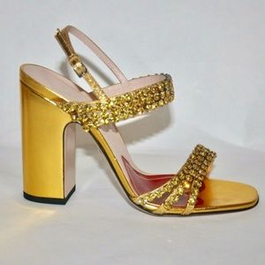 Gucci Bertie Crystal Gold Leather Sandals Heels